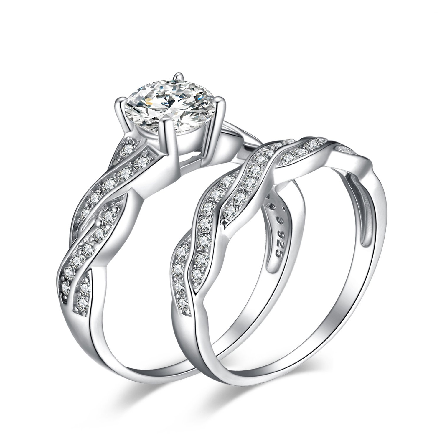 JewelryPalace Wedding Rings Engagement Rings For Women Anniversary Promise Ring Bridal Sets 925 Sterling Silver 1.5ct X Infinity White Cubic Zirconia CZ Ring Size 4-11