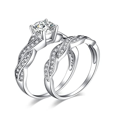 jewelrypalace 15ct infinity cubic zirconia anniversary promise wedding band engagement ring bridal sets 925 sterling - Wedding Band And Engagement Ring Set