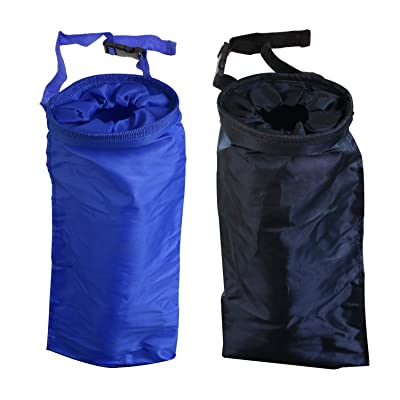 Mini Skater 2 Pcs Car Trash Bags Black Blue Reusable Portable Washable Small Adjustable Leakproof Eco-Friendly Seat Back Hanging Litter Garbage Bag for Outdoor Traveling Home Use: Automotive