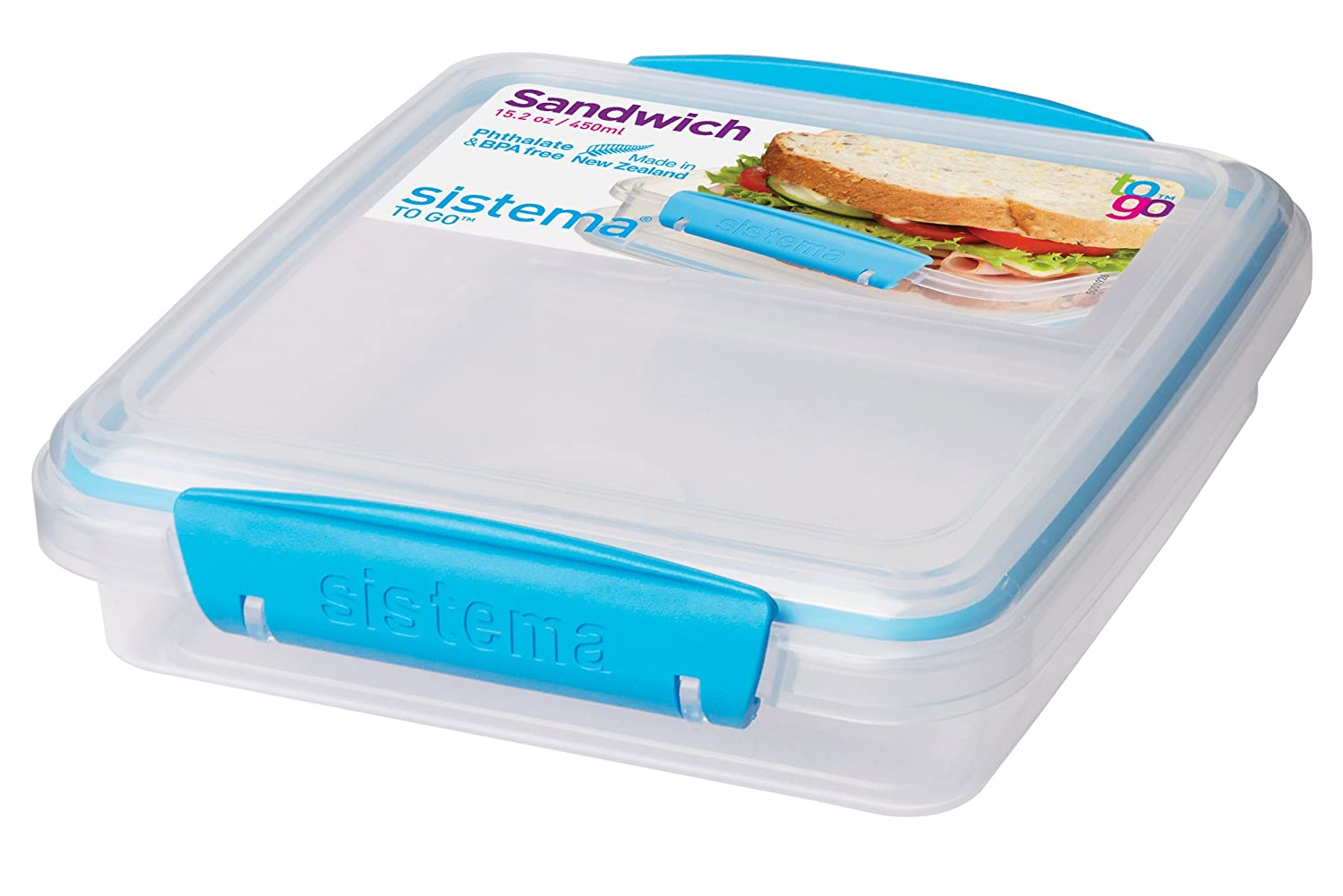 Sistema To Go Collection Sandwich Box Food Storage Container, 15.2 oz, Blue