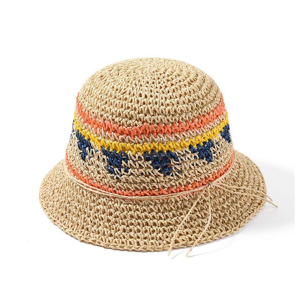 MUMUWU Sun Hat Visor Female Straw Cap Fashion Striped Straw Hat Spring Summer Hat Wild Travel Sunscreen Hat (Color : Red, Size : 56-58CM)