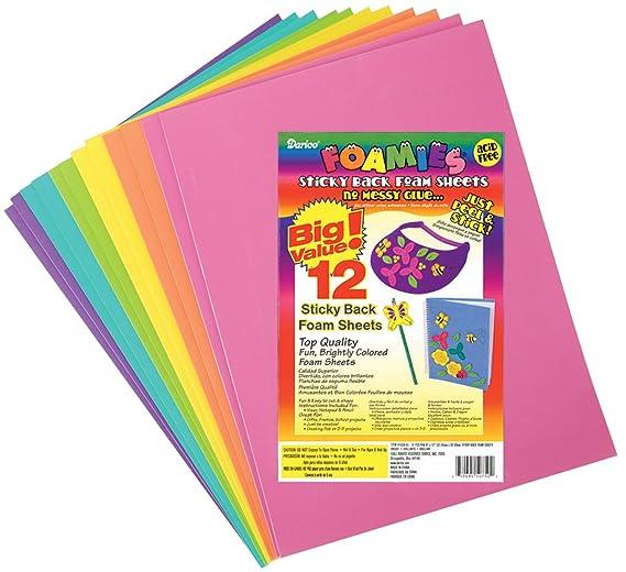 Amazon.com: Darice 1035-55 12/Pack Foamies Sticky Back Foam Sheets ...