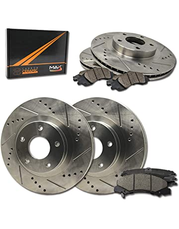 Max Brakes Front & Rear Performance Brake Kit [ Premium Slotted Drilled Rotors + Ceramic Pads