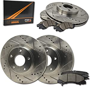 Max Brakes Front & Rear Performance Brake Kit [ Premium Slotted Drilled Rotors + Ceramic Pads ] KT146833 | Fits: 2009 09 Hyundai Genesis 3.8L Models