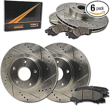 Max Brakes Rear Performance Brake Kit TA070632 Premium Slotted Drilled Rotors + Metallic Pads Fits: 2003 03 2004 04 Dodge Dakota