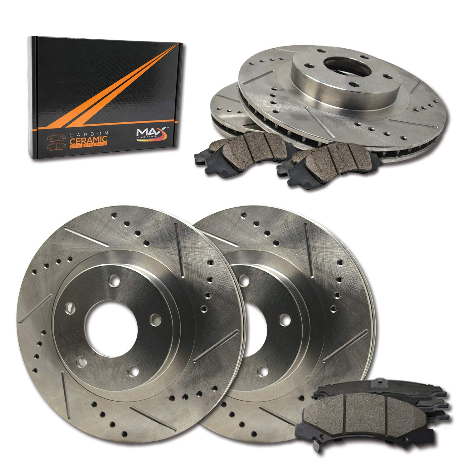 Max Brakes Front & Rear Performance Brake Kit [ Premium Slotted Drilled Rotors + Ceramic Pads ] KT062133 Fits: 2006-2012 Ford Fusion | 2007-2012 Lincoln MKZ | 2006-2011 Mercury Milan