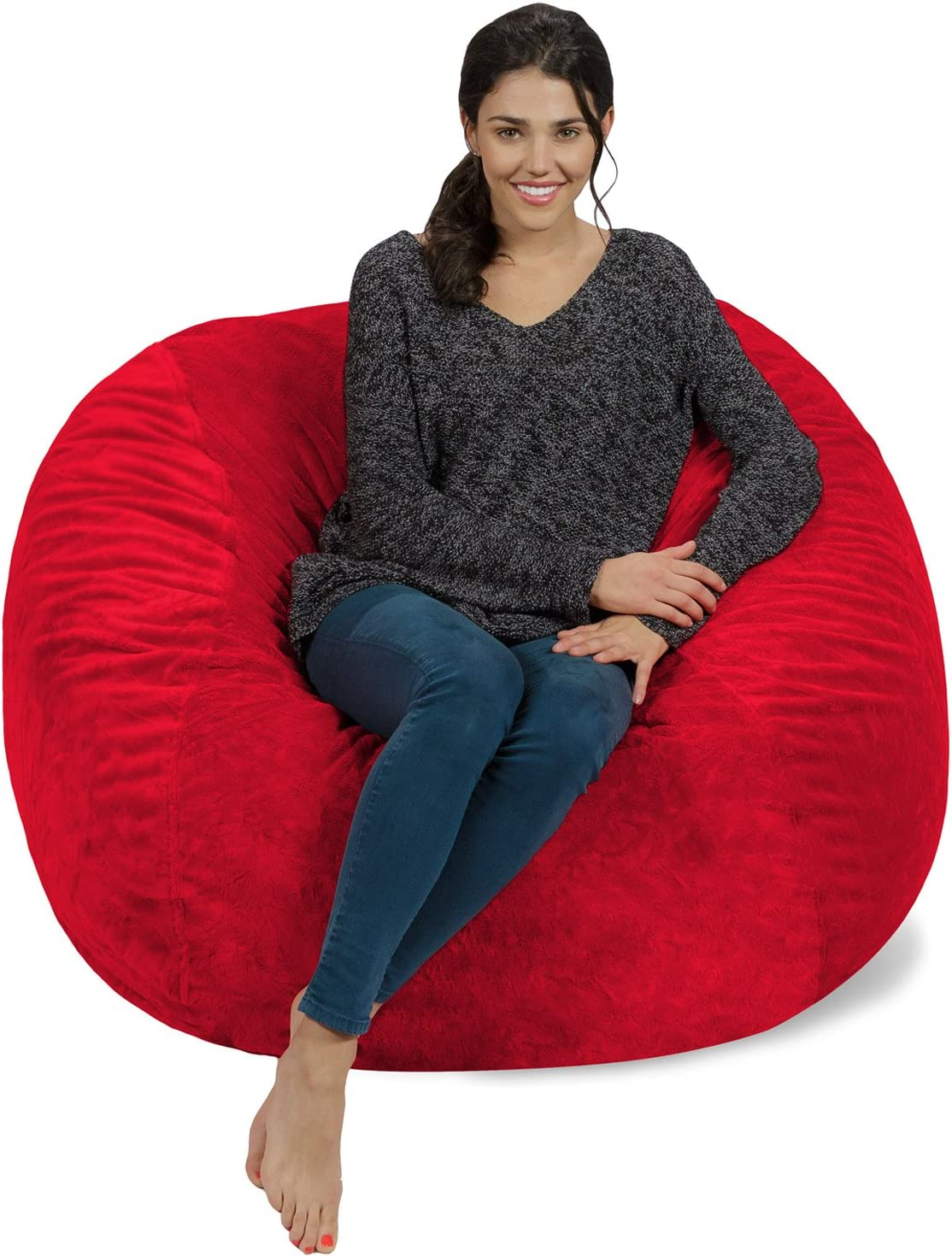 Chill Sack Bean Bag Chair: Giant 4' Memory Foam Furniture Bean Bag - Big Sofa with Soft Micro Fiber Cover - Red Furry