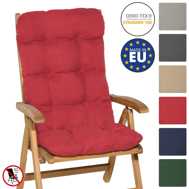 Beautissu Flair HL - Cojín para sillas de balcón Asiento Exterior con Respaldo Alto - 120x50x8 cm - Rojo