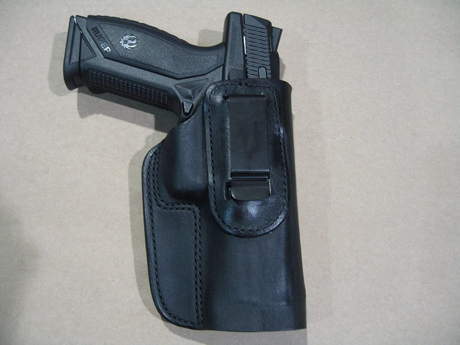 Ruger American Pistol IWB Leather In The Waistband Concealed Carry Holster  BLACK RH