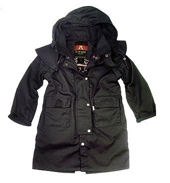 Kinder Drover Oilskin Wachsjacke in schwarz, wasserabweisend und  atmungsaktiv von Kakadu Australia