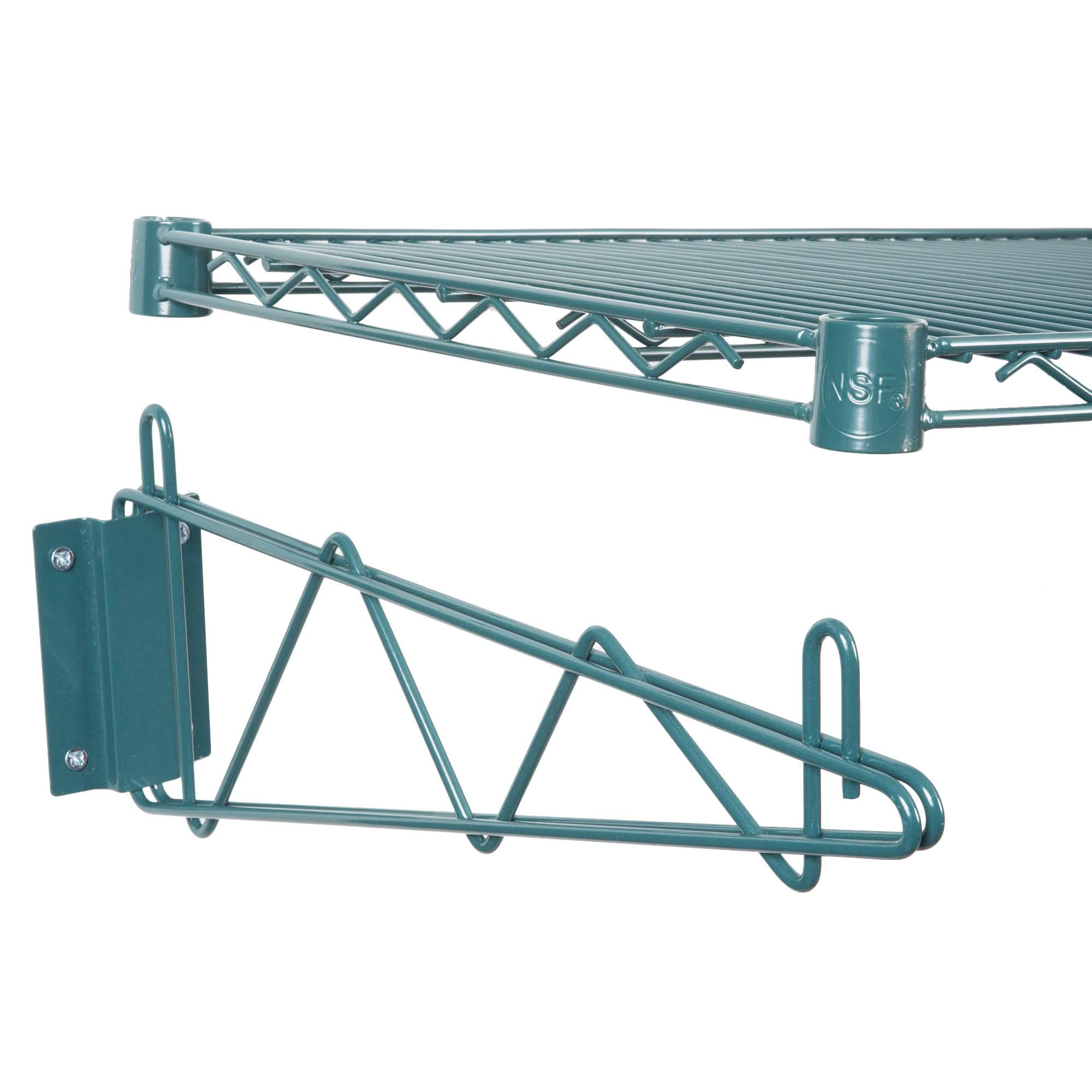 Green Epoxy Coated Wire Wall Mount Shelf 24 x 60 - NSF - Commercial by KPS (Image #2)