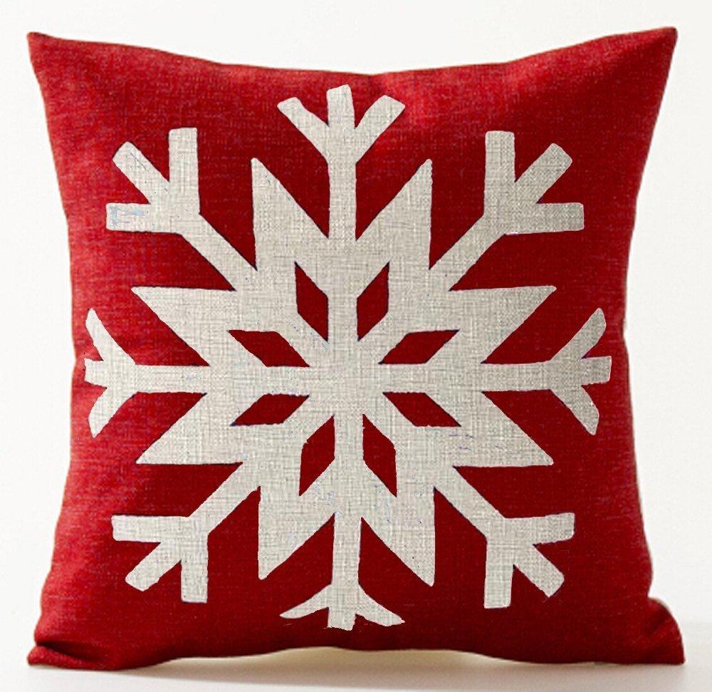 クリスマスシーズン向けクッションカバー コットンリネン 雄鹿の影絵 雪の結晶 クリスマスツリー 赤地 ベージュ 18×18インチ 18