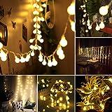 B-right Cadena de Luces, 13m 100 LED Blanco Cálido, 8 Modos de Luz, con Mando a Distancia, Salida de Seguridad de 29V Adaptador de Corriente Listado UL, Decoración para Navidad, Bodas, Patio, Jardines, Festivales, etc