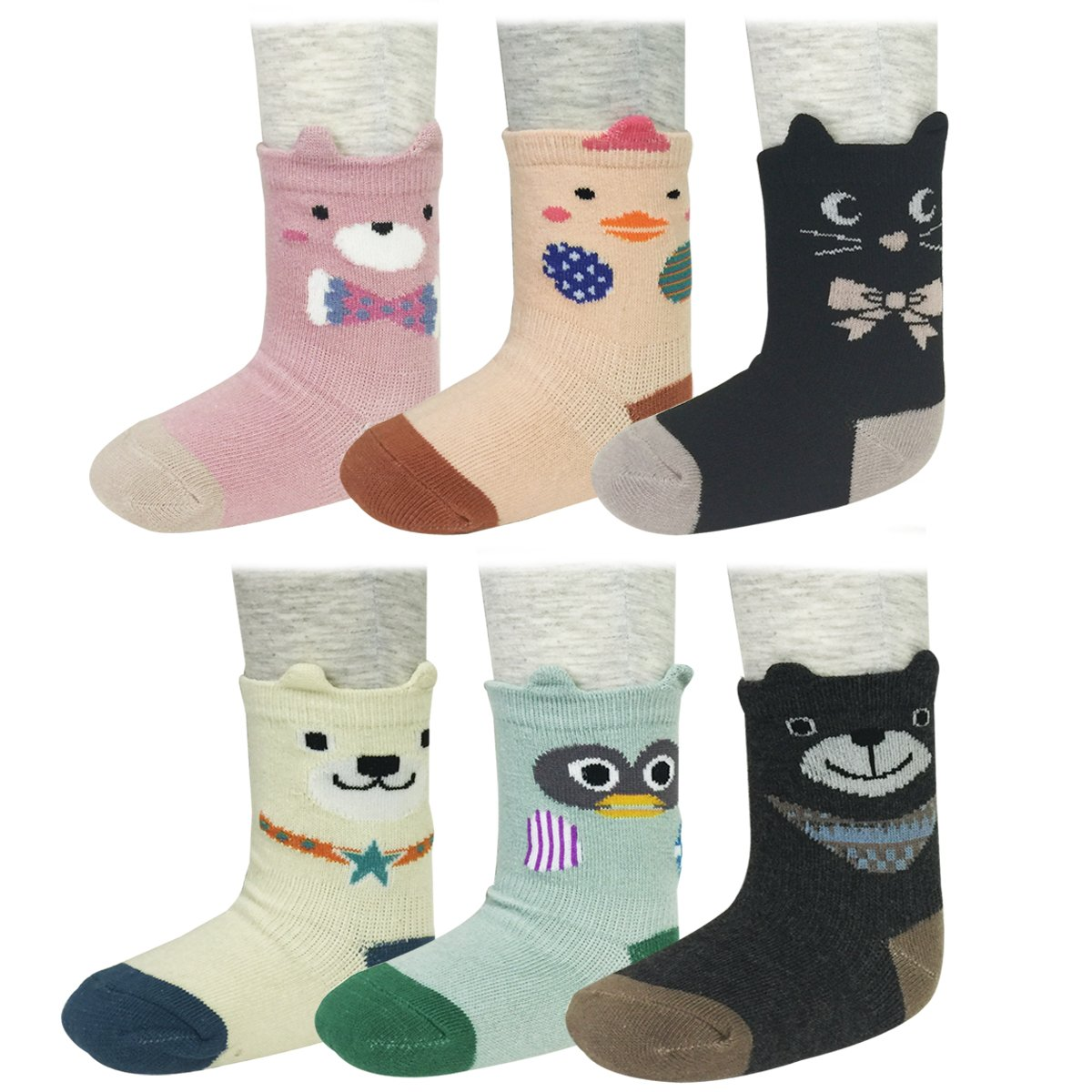 Bowbear Baby 6-Pair Animal Fun Socks
