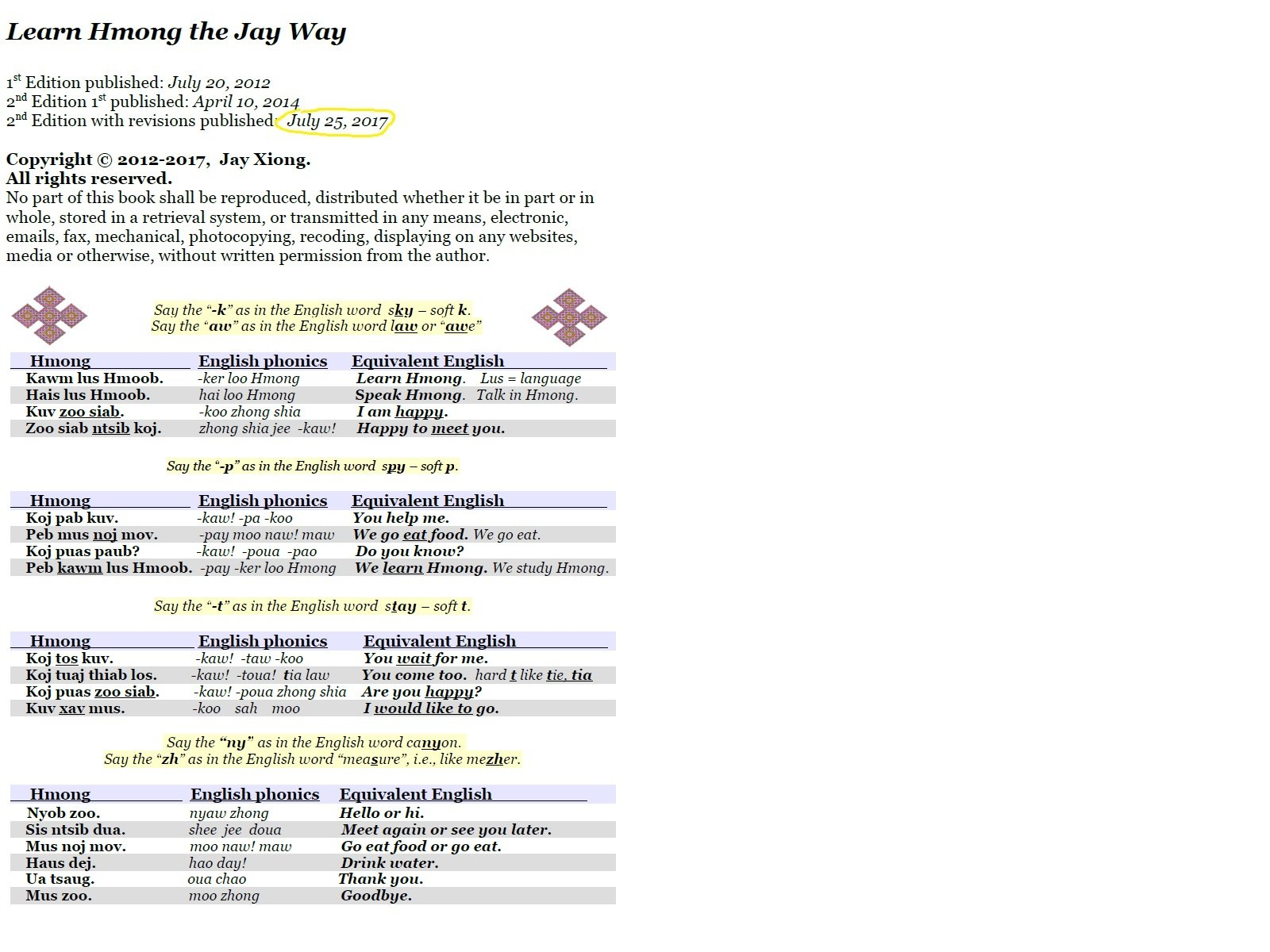 By Jay Xiong Learn Hmong the Jay Way Learn Hmong the Jay Way
