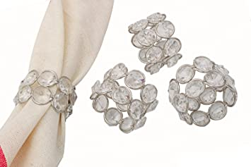 crystal glass beaded wedding napkin rings holders christmas napkin holders 4 pcs set - Wedding Napkin Rings