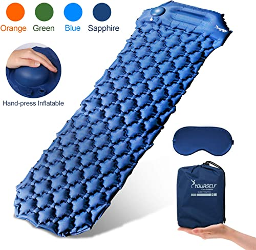 SYOURSELF Inflatable Sleeping Pad,Self-Inflating Camping Mat- Ultralight Compact Waterproof Foldable TPU Air Mattress Pads for Backpacking,Travel,Hiking,Tent,Beach,Outdoor Eye Mask