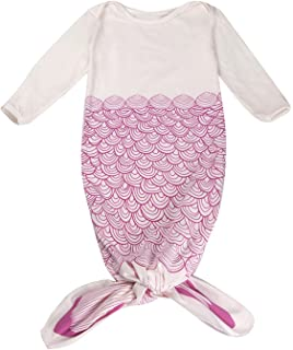 d931f8b11 Mrotrida Newborn Swaddle Blanket Cute Baby Onesies Long Sleeves Mermaid  Print Sleepwear Gowns Small Rose