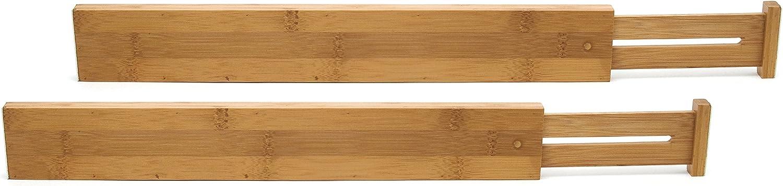 Lipper International 8896 Bamboo Wood Custom Fit Adjustable Kitchen Drawer Dividers, Set of 2