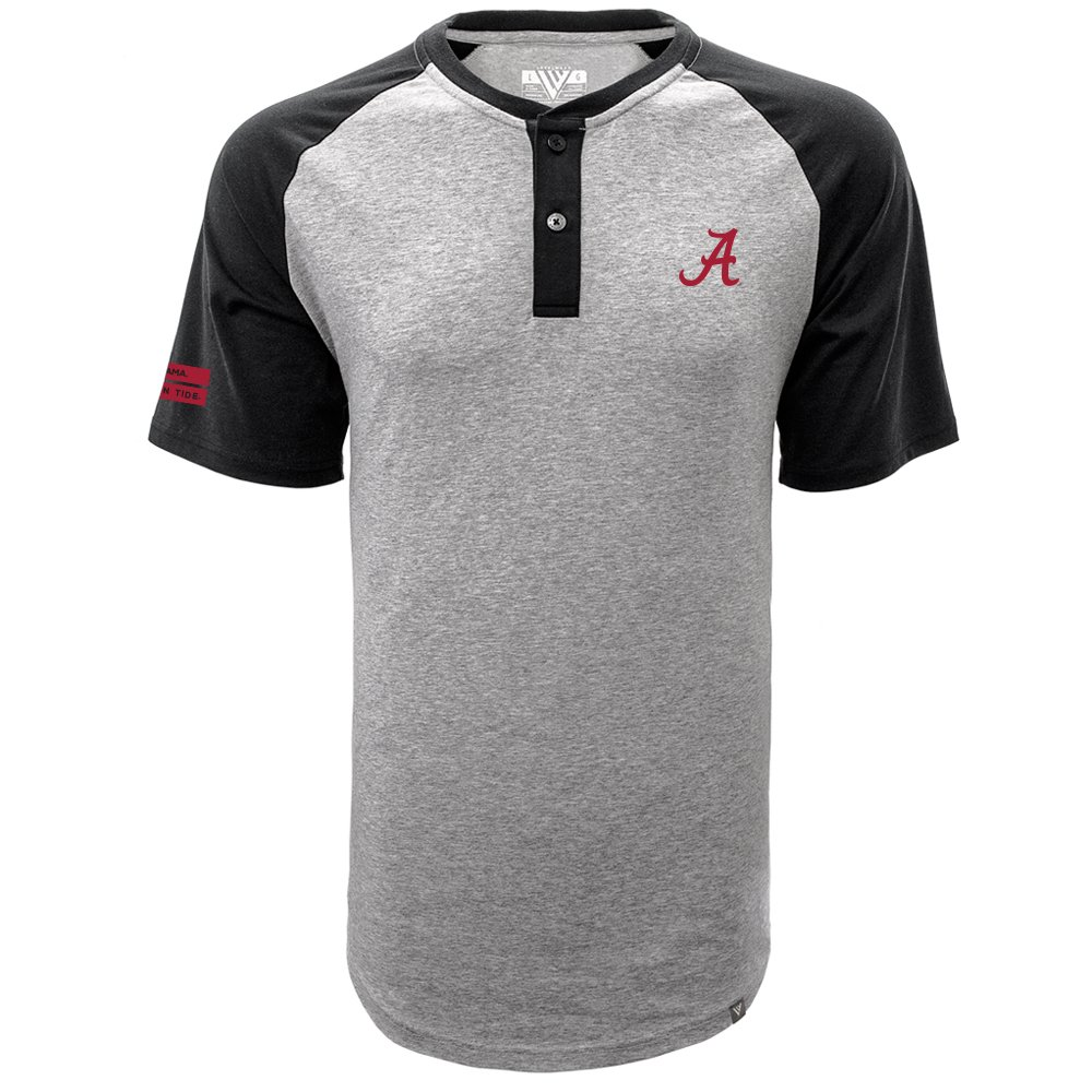 Levelwear LEY9R NCAA Alabama Crimson Tide Men's Chief Corporal Short Sleeve Henley Shirt, X-Large, Heather Pebble/Black