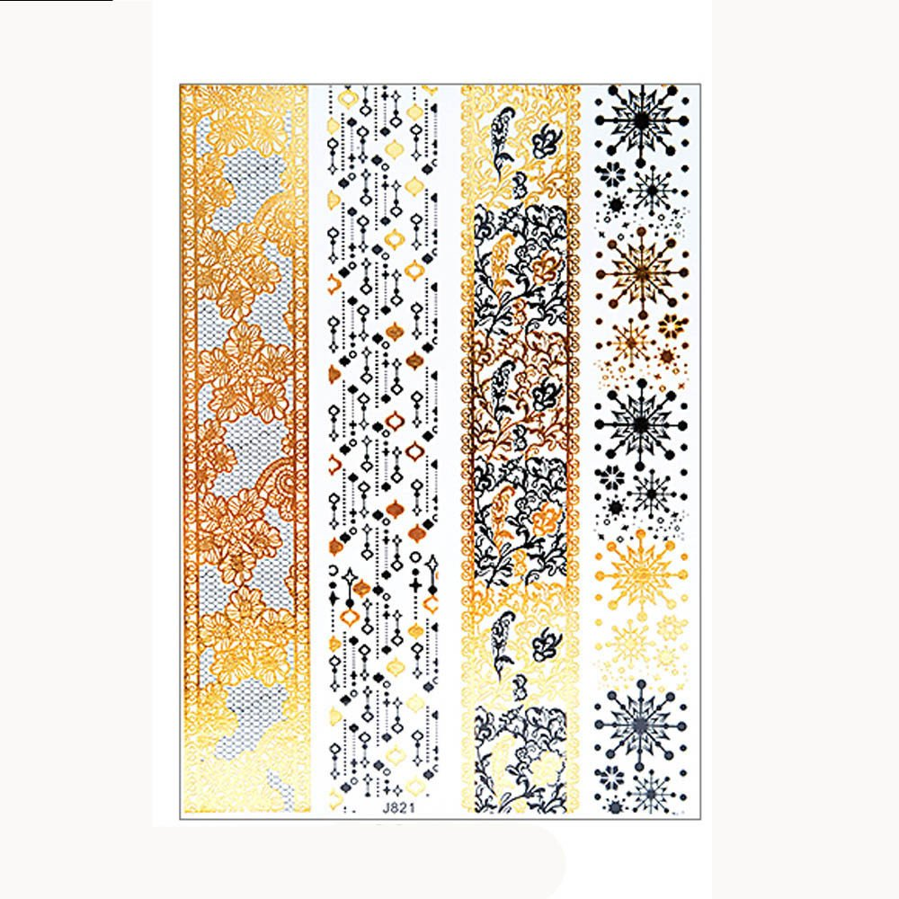 Metallic Temporary Tattoos for Women Glittery Waterproof Tattoos Stickers Removable Art Paper Fake Tattoos Party Favors for Women & Girls 1PC (E)