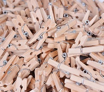 Monbedos Set Di 100 Mini Mollette Di Legno Per Appendere