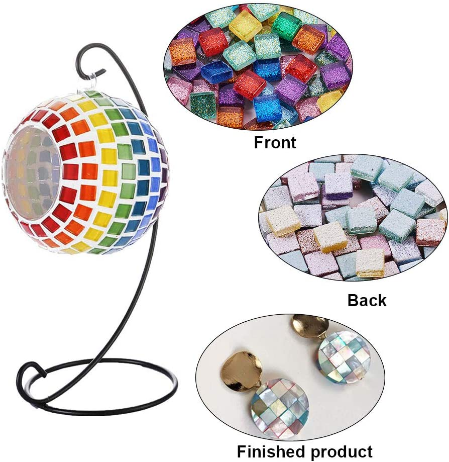 PandaHall Elite about 300pcs Mixed Color Square Glass Mosaic Tiles Cabochons With Glitter Powder Inside For Home Decoration And Crafts Making
