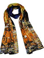 Dahlia Women's 100% Luxury Long Silk Scarf - Van Gogh's Art Collection