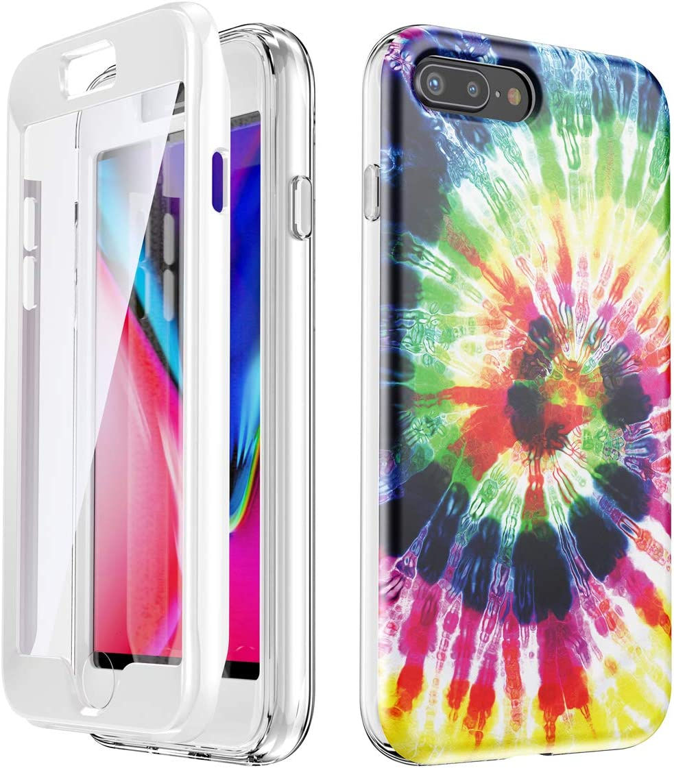 SANKTON Full Body Shockproof Protective Case with Built-in Screen Protector for 5.5 inch iPhone 7 Plus and iPhone 8 Plus (Rainbow)