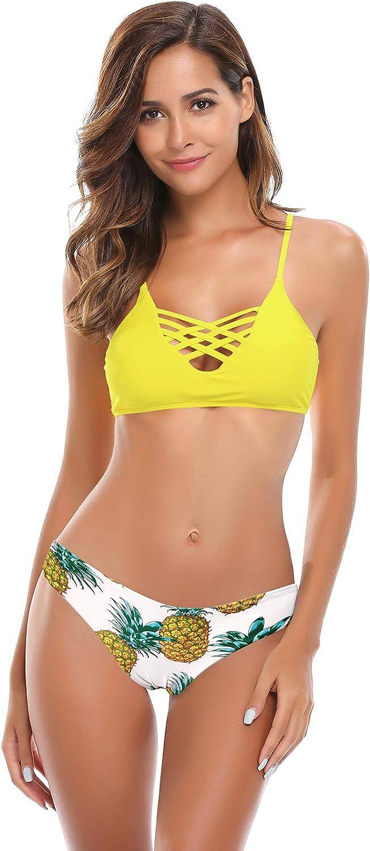 SHEKINI Damen Crossover Bikini Set Cut Out Gepolsterter Oberteil 2 Teiliger Mankini Low Waist Blumen Bikinihose R/ückenfrei Bandeau Standbikini