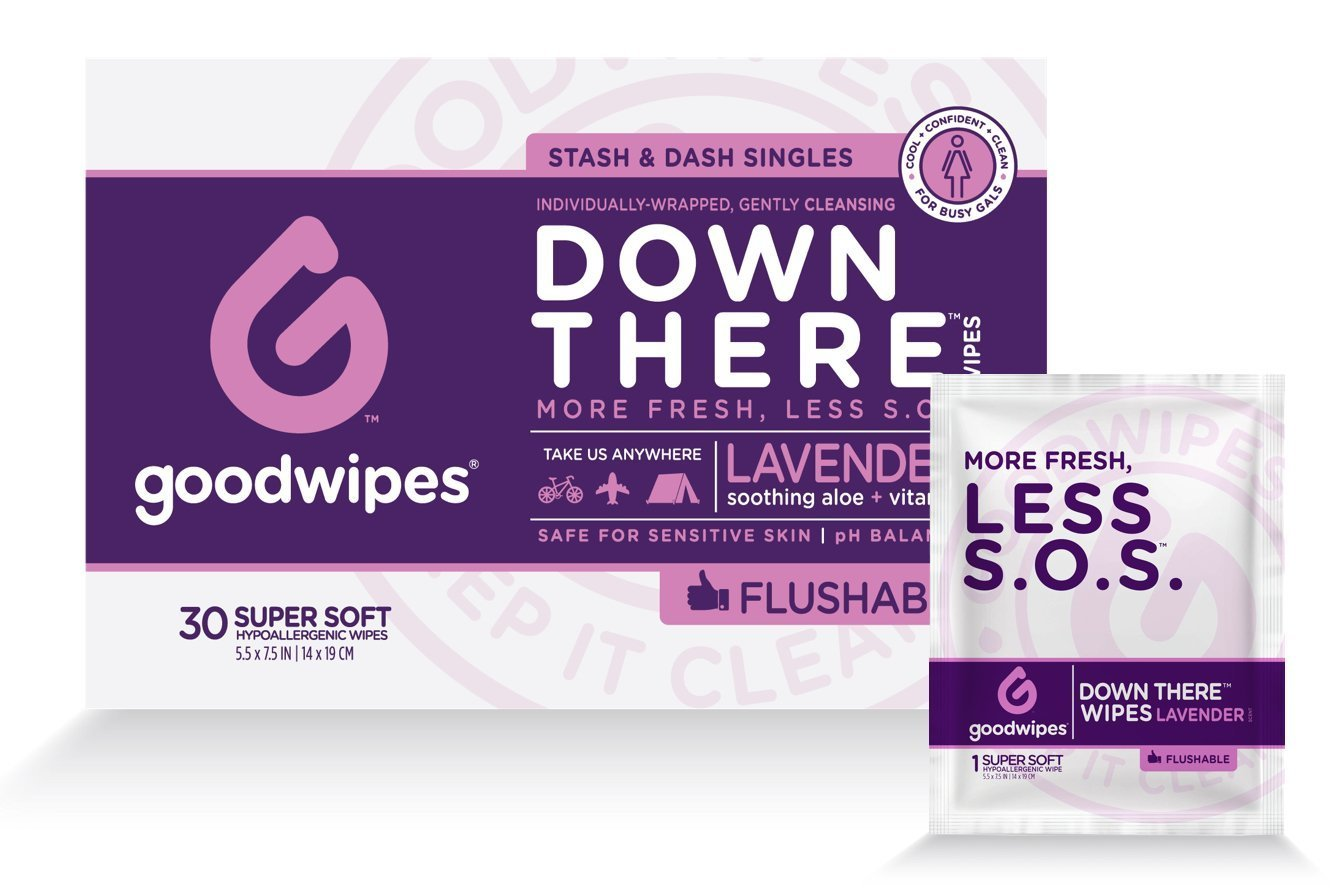 GoodWipes Flushable Wet Cleansing Wipes for Women Down There, 30 Fresh Wipes