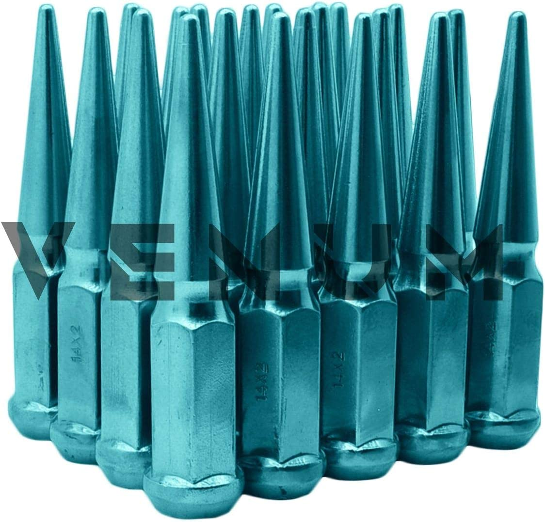 Venum wheel accessories 20 Pc M14x1.5 Candy Teal Spike Lug Nuts Powder Coated 4.5 Tall Compatible with 2015-2020 Ford Mustang GT 5.0 Shebly W//Aftermarket Wheels