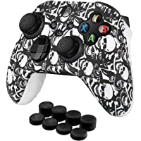 TNP Controller Cover Skin Case with Thumb Grips (Skull) Fit for Xbox Series X S & X-Box One XS Gamepad - Soft Studded…