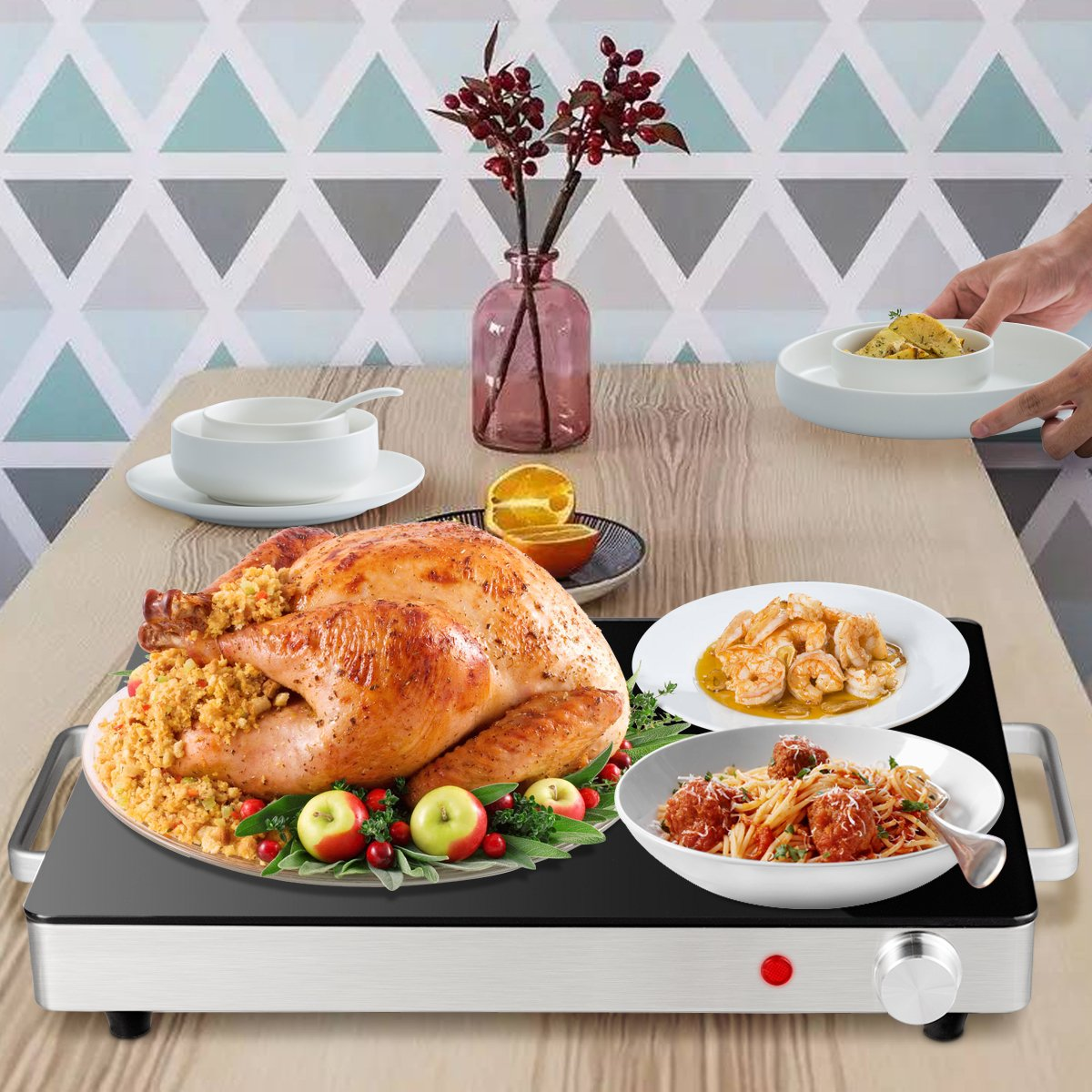 Giantex Warming Tray with Adjustable Temperature Control Perfect For Buffets, Restaurants and Home Dinners by Giantex (Image #3)