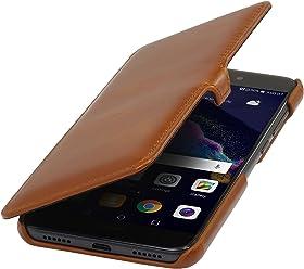 StilGut Book Type Case con Clip, Custodia a Libro Booklet in Vera Pelle per Huawei P8 Lite (2017), Cognac