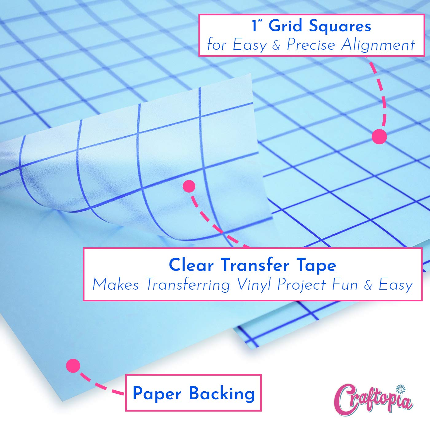 Vinyl Transfer Paper Tape Roll 12 x 12 FT Clear w//Blue Alignment Grid Application Tape Perfect for Cricut Cameo Silhouette Self Adhesive Oracal for Signs Crafts Stickers Decals Medium Tack