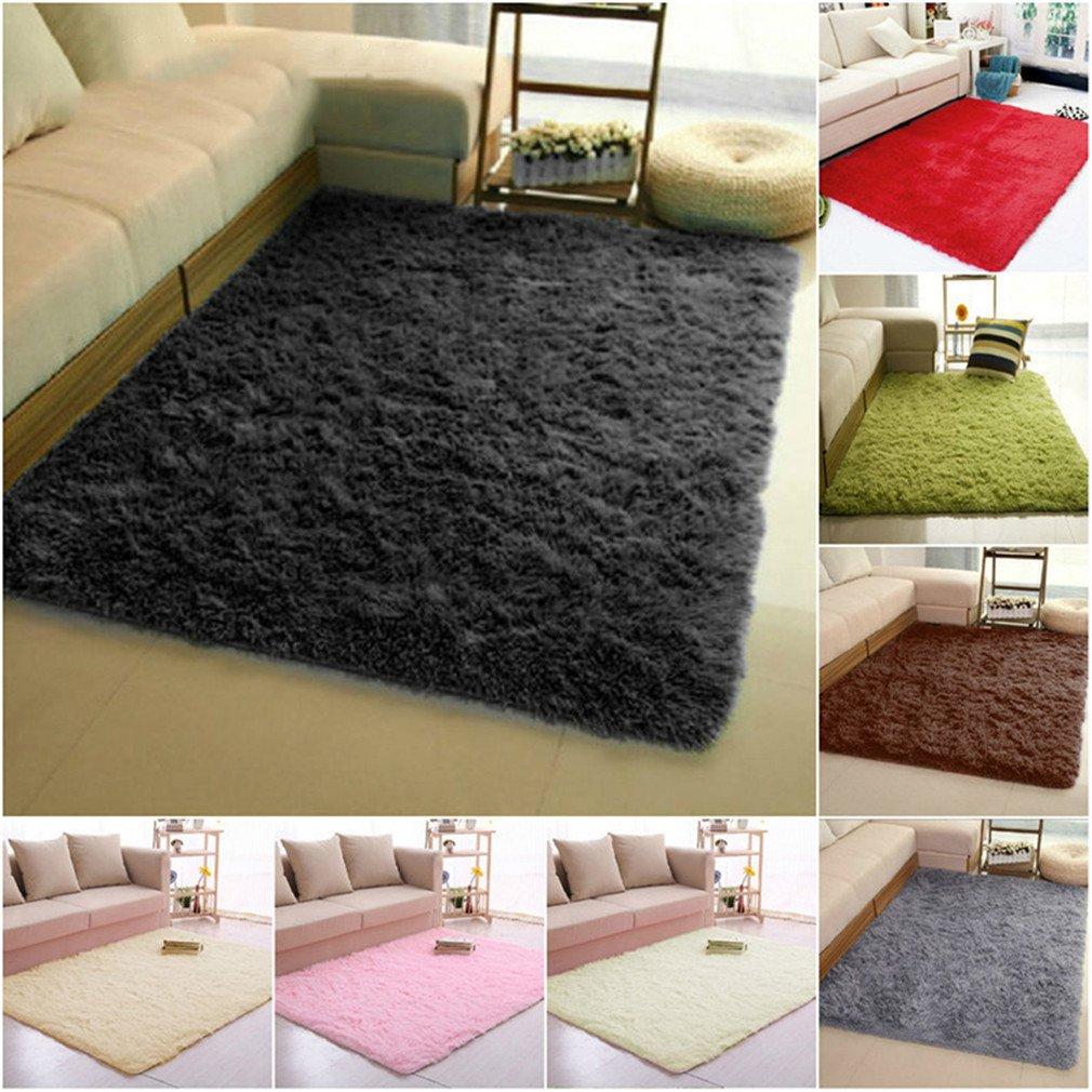 Super Soft Long Plush Silky Mat Carpet Mat Door Rugs Area Rug For Bedroom Living Room Bathroom 4 40x60cm by CHOUHOC (Image #2)