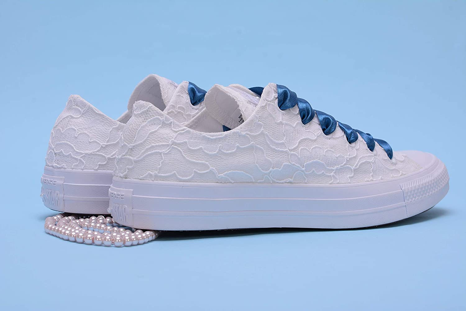White Wedding Trainers For Bride, Lace