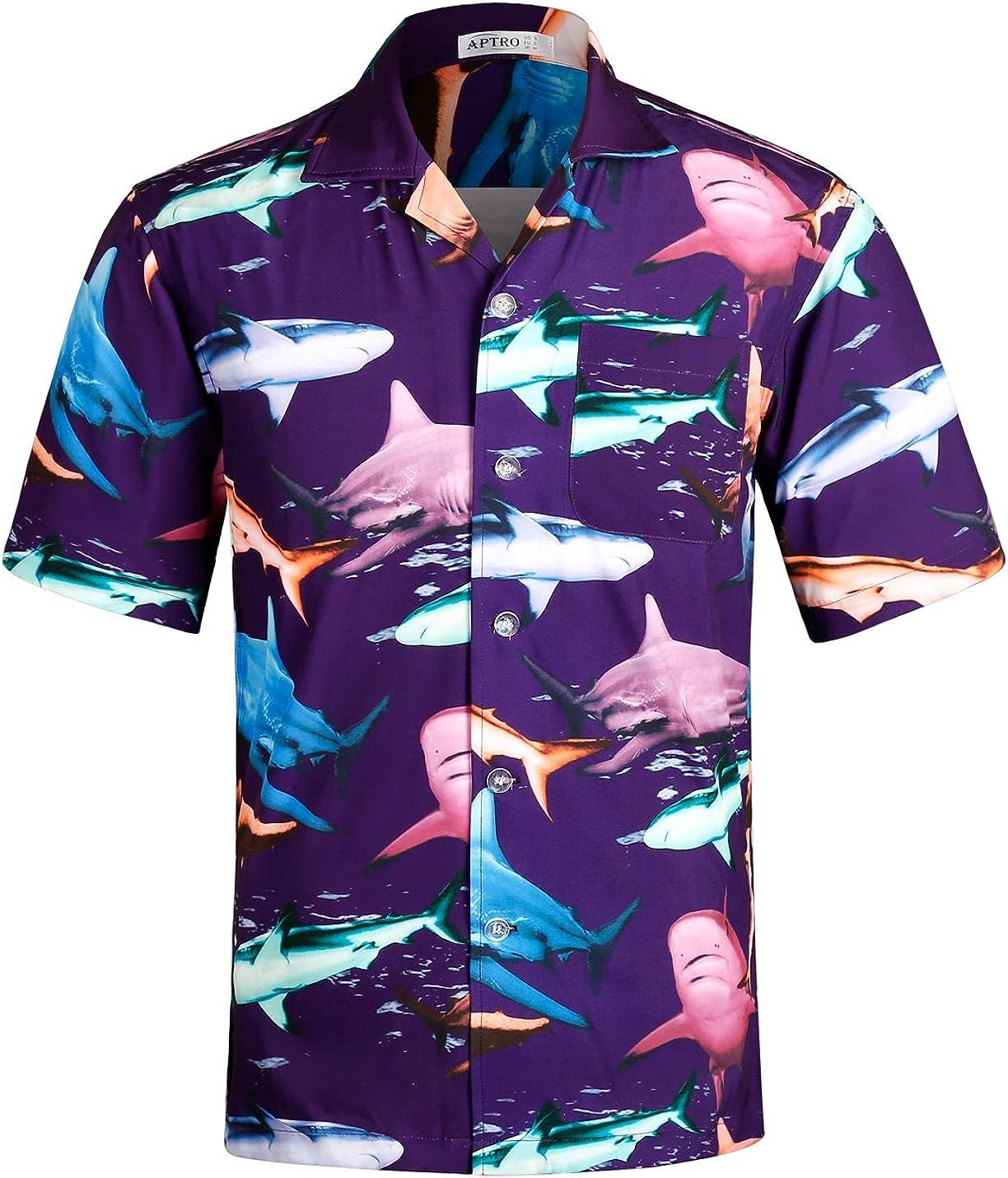 APTRO Men's Casual Hawaiian Shirt 4 Way Stretch Relax Fit Short Sleeve Tropical Shirts