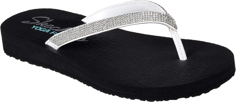 Skechers Womens Meditation Chill Vibes Flip Flops 7, White