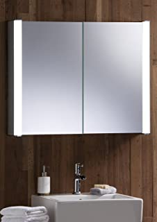 LED Illuminated Bathroom Mirror Cabinet With Demister Heat Pad Shaver And Sensor Switch Lights