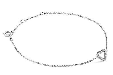 Miore – Pulsera de oro blanco con diamante (.07) (18 cm)