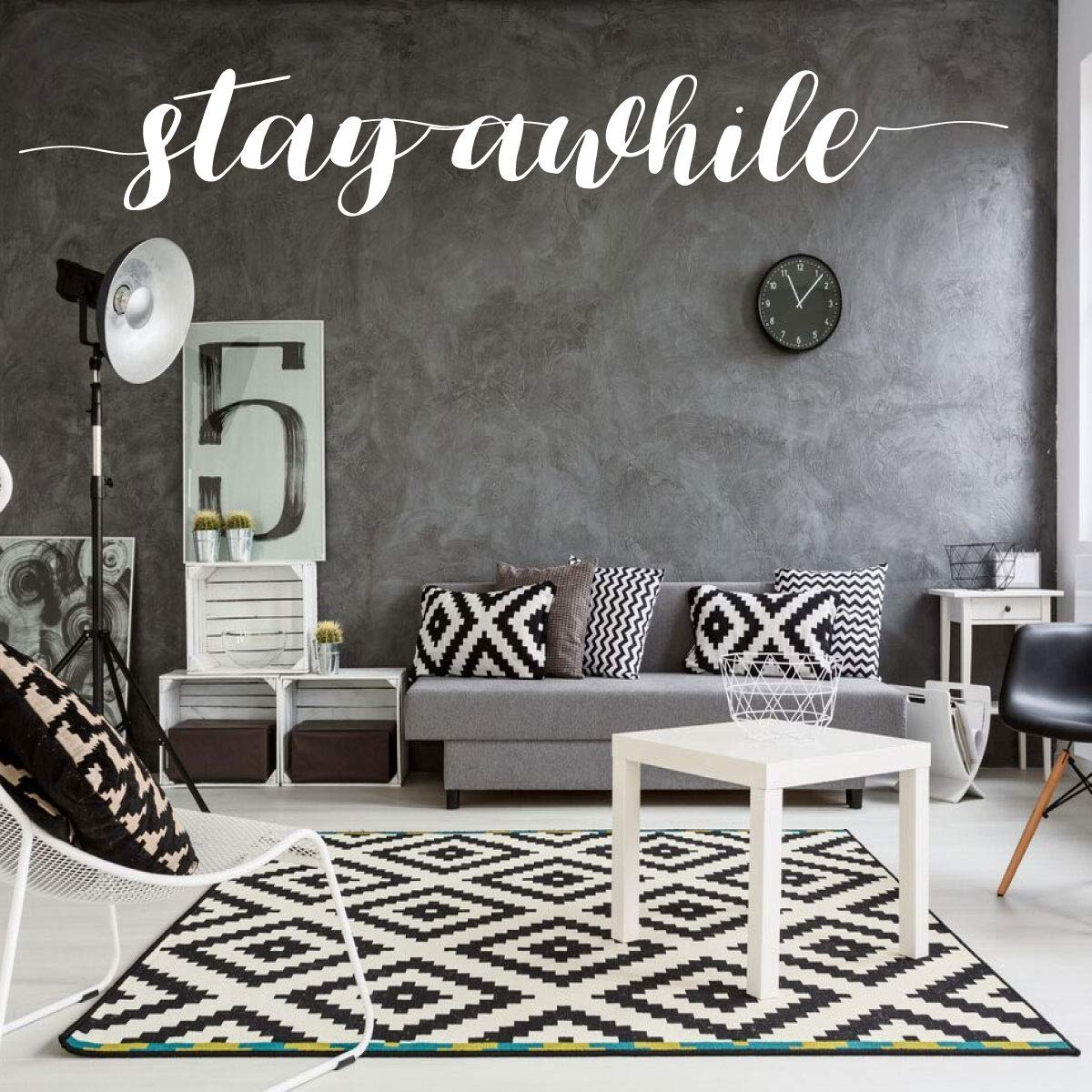 Amazon Com Stay Awhile Vinyl Wall Decor Lettering Great For Living Room Bedroom Bathroom Kitchen Office Red Gray Yellow Green Blue Pink Purple Other Colors Small Large Sizes Handmade
