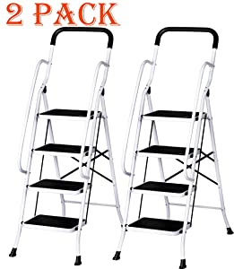 Livebest 4 Steps Ladder Folding Step Stool with Hand Grip Non-Slip Safety Rails Portable Heavy Duty 330 lb Load Capacity,Iron,2 Pack