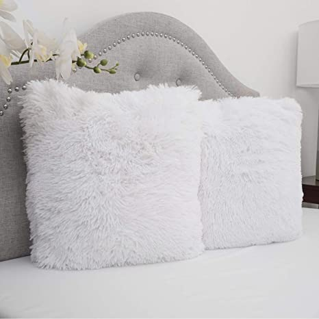 Sweet Home Collection Plush Pillow Faux Fur Soft And Comfy Throw Pillow 2 Pack White Home Kitchen