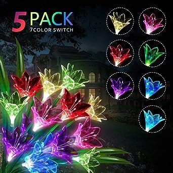 Luces Solares Exterior para Jardin, 3 LED Luz Solar lirio Flores Impermeable Inalámbrico lamparas Solares, 7 Variaciones de Color Adecuado para Jardín, Patio, Decoración, 5 Paquete: Amazon.es: Iluminación