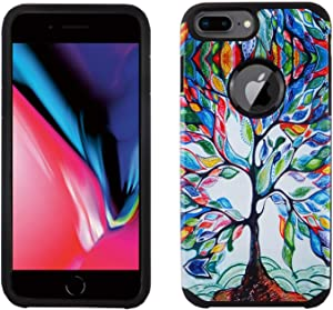 EDEALSAVING iPhone 8 Plus Case, IMAGITOUCH 2-Piece Style Armor Case with Flexible Shock Absorption Case and Colorful Love Tree Cover for iPhone 8 Plus– Vintage Love Life Family Tree Hybrid