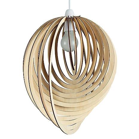 MiniSun - Pantalla para lámpara de techo Lenko nórdica - Moderna con toque vintage - De madera con forma de espiral 3D