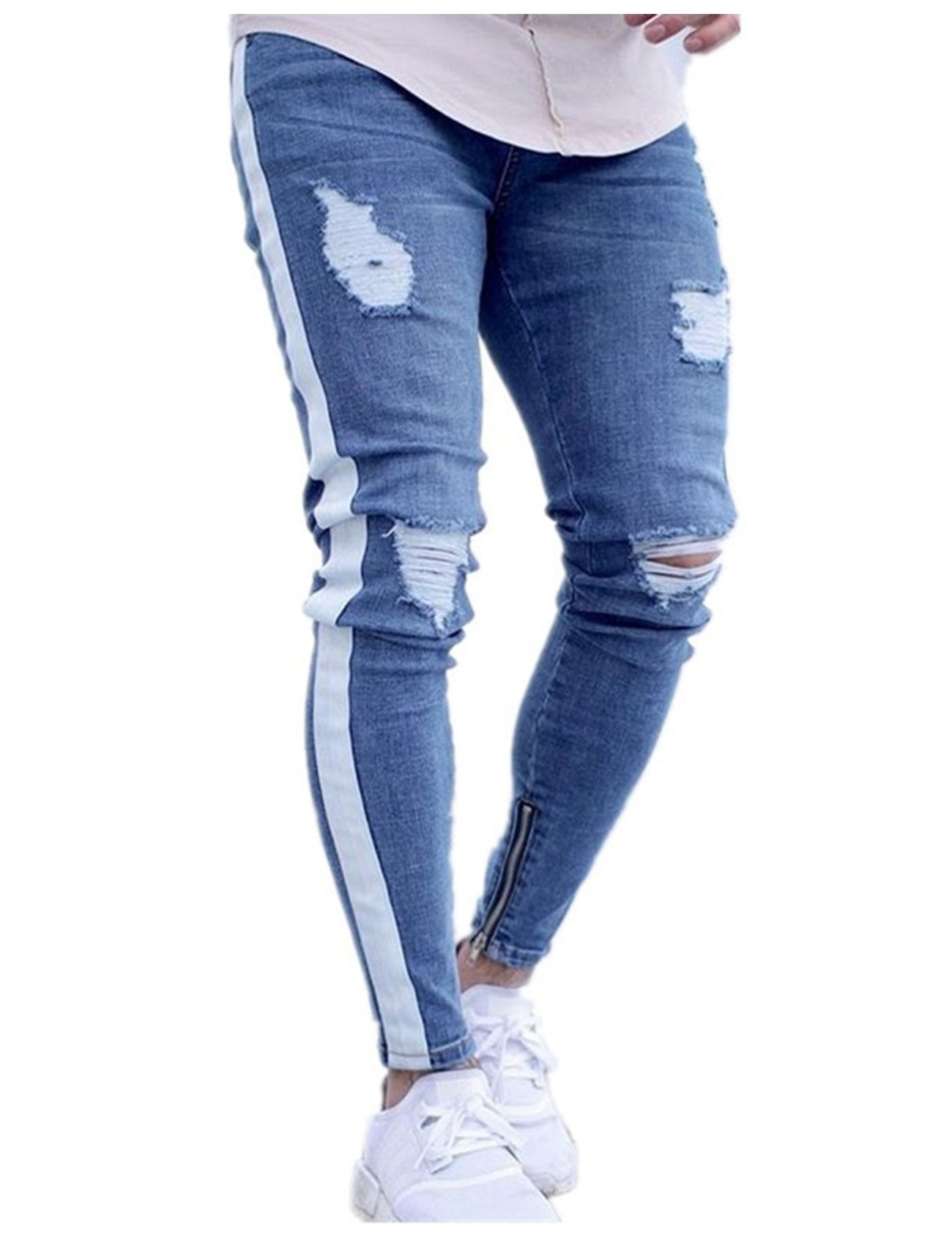 Bestgift Men's Stretch Side Stripe Zipper Decor Distressed Jeans S Light Blue