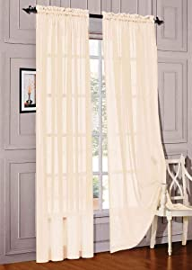 "WPM WORLD PRODUCTS MART Drape/Panels/Treatment Beautiful Sheer Voile Window Elegance Curtains for Bedroom & Kitchen, 57"" inch x 84"" inch, Set of 2 (Beige)"